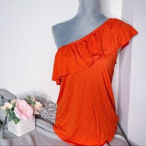 Old Navy One Shoulder Ruffle Blouse